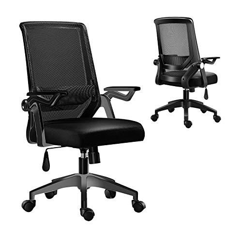 Silla de oficina ergonómica giratoria 360°, con soporte lumbar ajustable, altura regulable, con ruedas silenciosas y cojín grueso (negro)