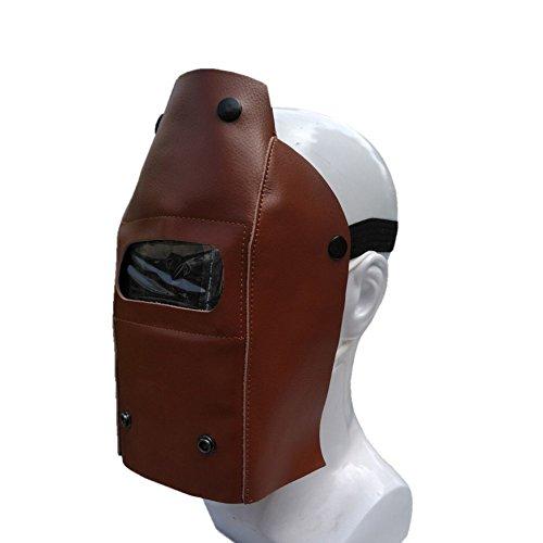 qees profesional casco de soldadura FreeSize con adjustabale elástica banda conjunto pieza piel protectora Gear máscara casco de soldadura de máscara de vaca campana de trabajo enrollable con botón