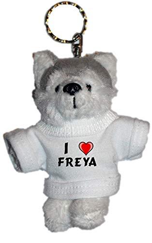 SHOPZEUS Plüsch Husky (Hund) Schlüsselhalter mit einem T-Shirt mit Aufschrift mit Ich Liebe Freya (Vorname/Zuname/Spitzname)
