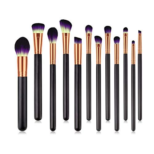 Lurrose 12 Pcs Cosmétiques Femmes Maquillage Brush Set Premium Portable Manche En Bois Fibre De Nylon Poudre Brosses pour Femmes Hommes Noir