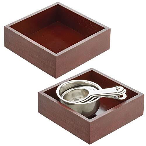mDesign Juego de 2 cajones de almacenaje – Cajas de bambú multifunción para armarios, cajones y superficies – Organizadores de madera abiertos de bambú ecológico – marrón oscuro