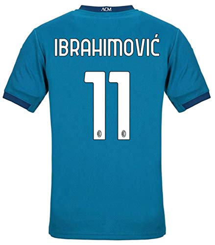 LISIMKEM 2020-2021 Men's Third Soccer Jersey/Short Colour Blue (AC Milan Ibrahimovic #11 (2XL))