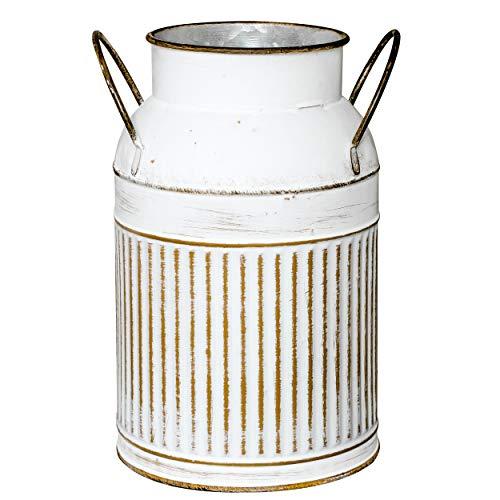 Soyizom Französisch Land Bauernhaus rustikale dekorative Krug Krug Vase und verzinktem Metall Vintage Topf Milchkanne Dose Blumen vase Halter mit Handgriff als Tisch Herzstück für Küche Hochzeit Dekor, weiß