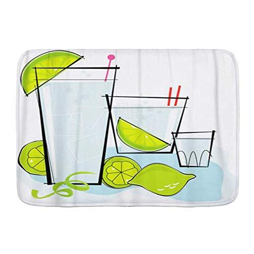 Fußmatten, Retro stilisierter Cocktail Spot Wodka oder Gin Tonic mit Limette Twistcocktail 1950S Zitrone, Küchenboden Badteppichmatte Saugfähig Innen Badezimmer Dekor Fußmatte rutschfest
