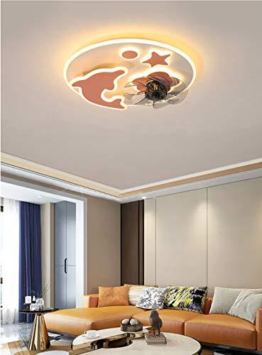 MZT Candelabro de Ventilador Ventilador de Techo con iluminación LED y función de Control Remoto Habitación de los niños Ventilador de Techo Invisible,Rosado,Dolphin