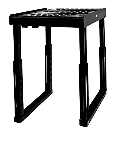 Locker Organizer Shelf, Adjustable Heavy Duty Stackable, Ideal Locker Accessories for School, Office, and Gym Lockers (Black)