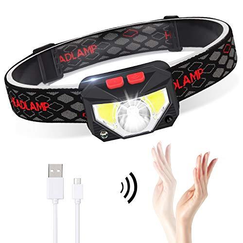 Linterna Frontal LED USB Recargable, ZOYJITU 1Pcs Linterna de cabeza led recargable, 8 Modos de uso (Luz Blanca/Luz Roja/Sensor). Linterna Frontal Led para Correr, Acampar, Pescar, Ciclismo