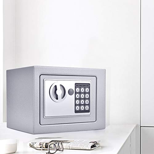 Nakey Digital Electronic Safe Security Box, Small Wall-Anchoring Safe for Home & Office, Cabinet Safe with Keypad for Money, Jewelry, Cash, Gun - with Batteries and Tools Photo #2