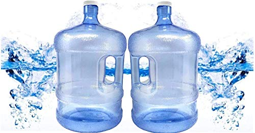 BPA Free 2 PACK 5 Gallon Water Bottle With Screw Caps 5 Jug Container With Cap, Easy Grip Carry Handle | For Sports Camping Residential Commercial Use | Food Grade Plastic