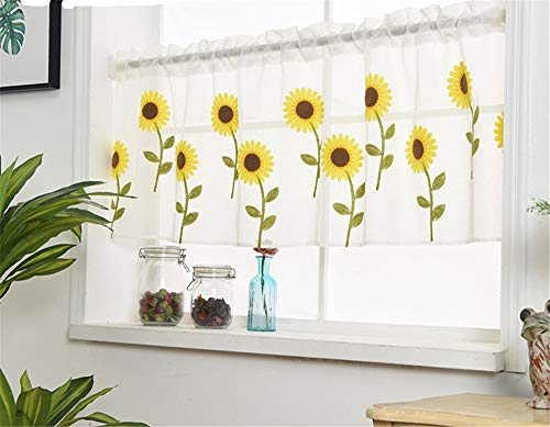 """WPKIRA Voile Sheer Valance - Kitchen Window Treatment Voile Valances Rod Pocket Embroidery Sunflower Sheer Tier Curtains for Small Window/French(Sunflower, 2 Panels Per Package, 39""""Wide x 21"""" Long)"""