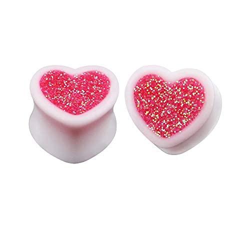 Par de medidores de oreja con purpurina rosa en forma de corazón para mujer, tapones para silla de montar en túnel, acrílico blanco, expansión..