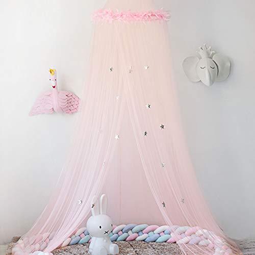 Naturer Rosa Baldachin Betthimmel Deko Himmel Durchsichtig mit Sterne Tüll Moskitonetz Babybett Kinder Mosquito Netz Bett Mückenschutz für Babyzimmer und Kinderzimmer