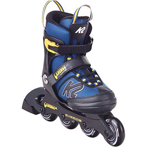 K2 Cadence Inline Skates Kinder I Inliner für Jungen I Rollerblades Boys I Inliner für Kinder I Rollschuhe Jungen I Kinder Inliner verstellbar I blue - yellow I L (EU: 35-40 / UK: 3-7 / US: 4-8)