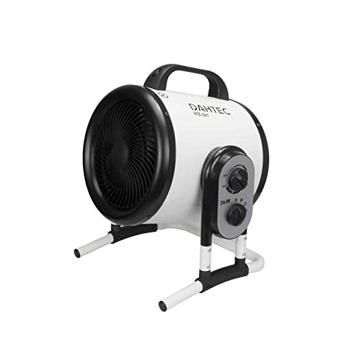 DAHTEC - H3.321 - Ventilador Calefactor de diseño orientable 3kW 3000 Watt - 2 Niveles de Calor - 230 V - Ventiladores eléctricos para apartamento, Oficina, Taller, Camping, Garaje
