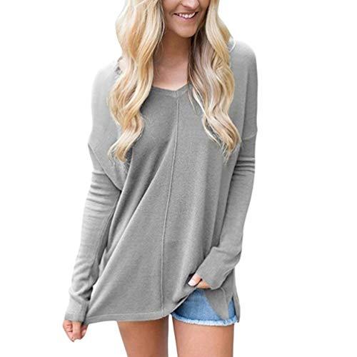 Lvguang Damen Langarmshirt Sweatshirt mit Rundhals Ausschnitt Oversize Hemd Jumper Bluse Tops (Grau,Asia L)
