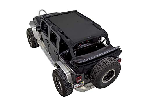 SPIDERWEBSHADE Compatible with Jeep Wrangler Mesh Shade Top Sunshade UV Protection Accessory USA Made for your JKU 4-Door (2007-2018) in Black