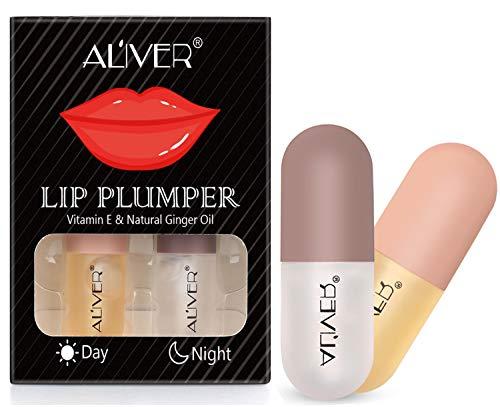 Lip Plumper, Tag und Nacht Doppelte Wirkung Lip Plumping Lip Booster Enhancer, Pflanzenextrakte...