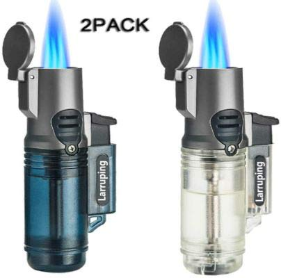 Larruping Outdoor Jet Torch Lighter Windproof Turbo Triple Flame Gas Butane Visible Window Refillable Cigar Cigarette Torch Lighter 2 Pack (without fuel) -  LONDAFISH, 4G-SI8M-ZOOB