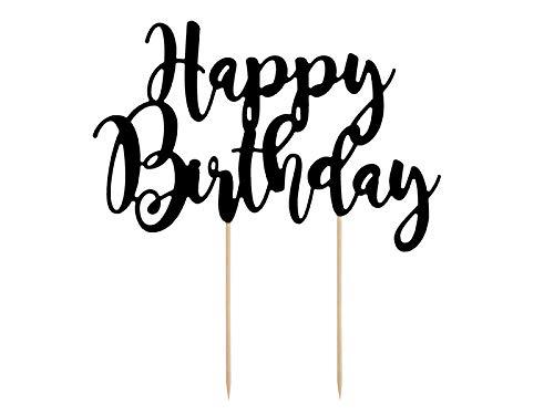 PartyDeco Tortenstecker für Geburstagstorte - Happy Birthday - Schwarz, 22,5 cm - Tortendekoration, Kuchendeko, Cake-Topper, Cupcake Topper für Geburtstag, Babyparty, Jubiläen