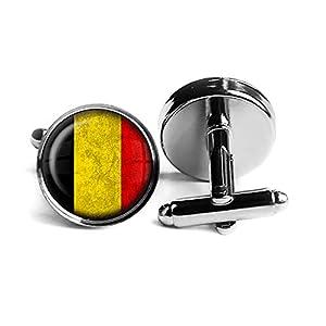 Belgium Belgian Belgien Belgisch Flagge Rhodium Silber Manschettenknöpfe