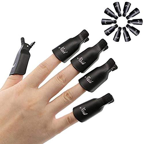 HiMo 10PC Plastic Acrylic Nail Art Soak Off Cap Clip UV Gel Polish Remover Wrap Tool (BLACK)
