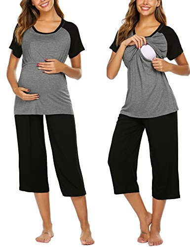 Ekouaer Nursing Pajamas for Breast Feeding Nursing PJ Maternity Clothes Nightgown Hospital Delivery Gown (Grey L)