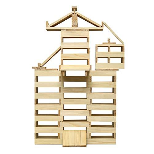 Micki 10216700 - 200 Bausteine Holz - 200 Stück - Natur - Bauklötze Plättchen - Kreativ-Set - ab 18 Monaten