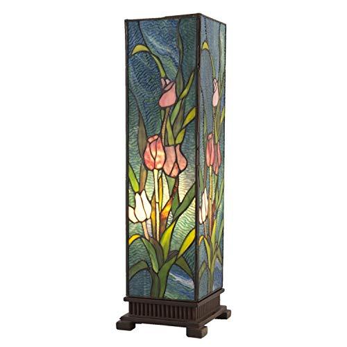 Lumilamp 5LL-5749 - Lampada da tavolo da comodino, stile Tiffany, motivo floreale, multicolore, 17,5 x 17,5 x 58,5 cm, 1 lampadina E27 max. 60 W, vetro decorativo tiffany