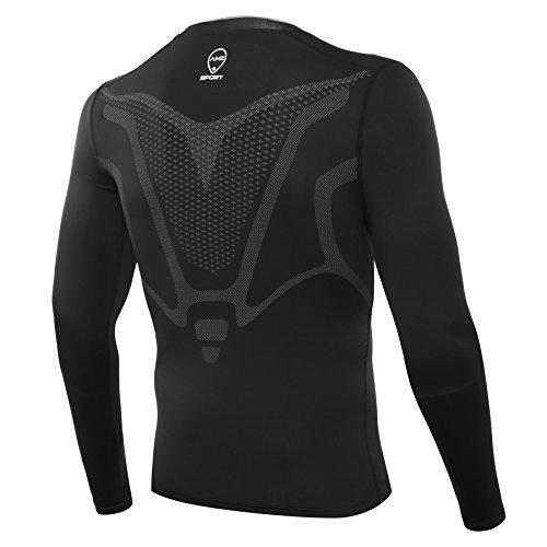 AMZSPORT Herren Kompressions-Shirt langärmlig Funktionsshirts Baselayer Langarm Schwarz S - 2