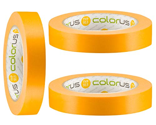 3 x Colorus Profi Fineline Tape 19 mm x 50m   Lackier-Klebeband extra scharfe Farbkanten   Klebeband für Farbe   Malerabdeckband rückstandslos entfernbar   UV-Klebeband