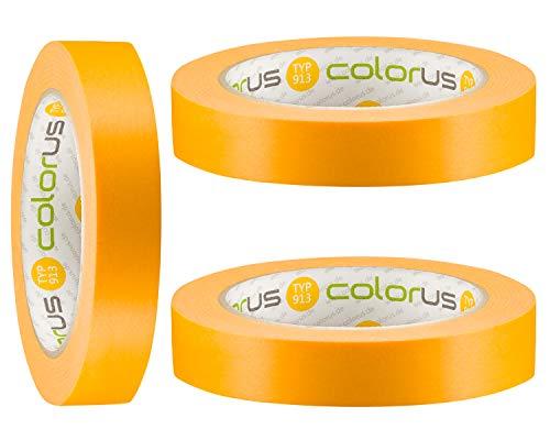 3 x Colorus Profi Fineline Tape 19 mm x 50m | Lackier-Klebeband extra scharfe Farbkanten | Klebeband für Farbe | Malerabdeckband rückstandslos entfernbar | UV-Klebeband