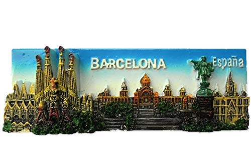 Weekinglo Souvenir Imán de Nevera Barcelona España 3D Resina Artesanía Hecha A Mano Turista Viaje Ciudad Recuerdo Colección Carta Refrigerador Etiqueta