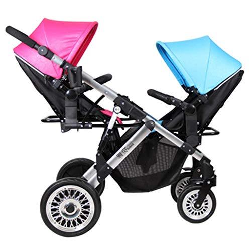 BGTRRYHY Cochecito de bebé Doble con Amortiguador Ligero bidireccional Que Puede Sentarse en Alto Paisaje Plegable Cochecito de bebé Compacto