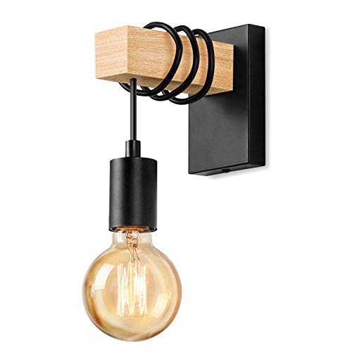 Lightess Applique Murale en Bois Industrielle Lampe Murale Vintage Eclairage Murale intérieur Rétro E27 Spot Mural pour Salon Chambre Salle à Manger Couloir Bar Noir (sans ampoule)