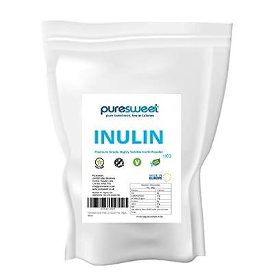 Puresweet Inulin Prebiotic Fibre Powder 1kg - Non GMO, Premium Grade, Highly Soluble, Made in The EU, Fructo Oligosaccharide (FOS), Gluten Free, Vegan.