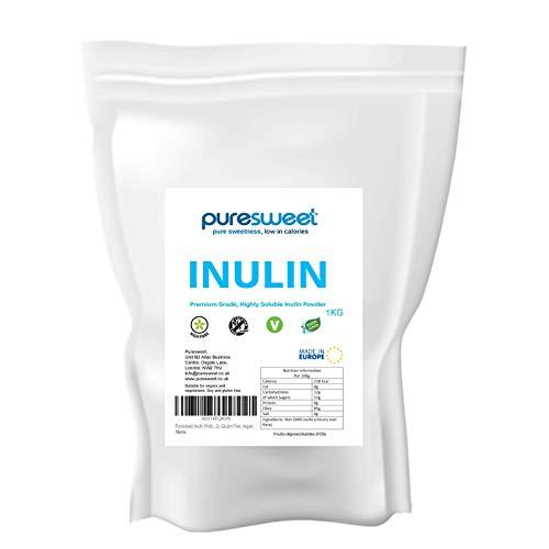 Puresweet High Grade Inulin Prebiotic Fibre Powder 1kg - Non GMO, Premium Quality, Highly Soluble, Made in The EU, Fructo Oligosaccharide (FOS), Gluten Free, Vegan.