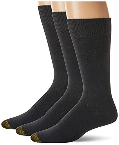 Gold Toe Herren Micro Flat Knit Crew Socken 3 Paar - Schwarz - Einheitsgröße
