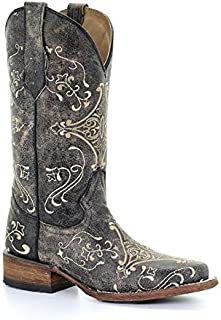 Corral Circle G Women's Cognac/Brown Scroll Embroidery Designed Leather Cowgirl Boots