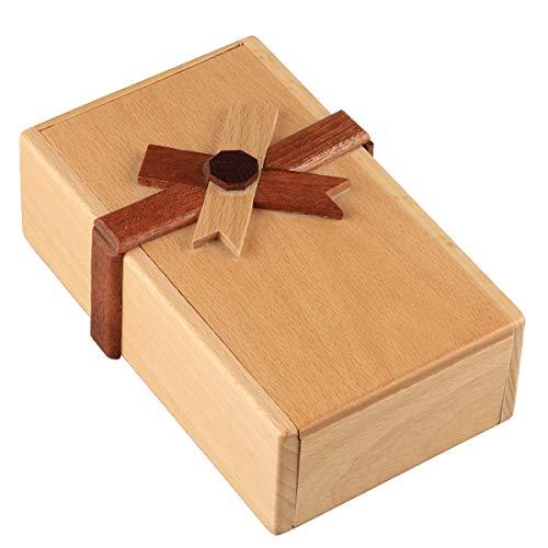 BELTI Caja de Regalo de Rompecabezas con Compartimentos Secretos Hucha de Madera para desafiar