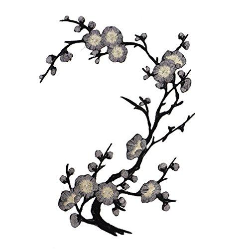ORYOUGO Bestickte Blumen-Applikation Pflaumenblüte Aufnäher zum Aufnähen oder Aufbügeln für Kragen, Brust, Kleid, Tasche, Schuhe, Handwerk Kleidung, Jeans, Röcke,...