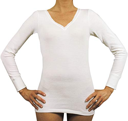 Velan 40202 (Talla 3 Blanco) - Camiseta térmica Manga Larga Cuello en V Ropa Interior para Mujer Lana y algodón