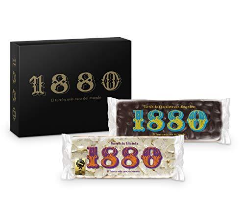 1880 - Pack Turrón de Alicante 400G + Turrón de Chocolate com S 400G, Textura Crujiente, Calidad Suprema Típico Dulce Navideño Receta Artesanal, Turrón Tradicional, Almendra, 800 G