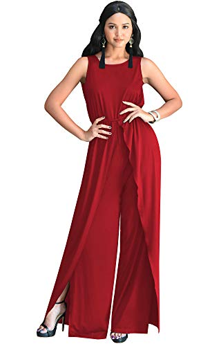 KOH KOH Petite Womens Sleeveless Cocktail Wide Leg Casual Cute Long Pants One Piece Jumpsuit Jumpsuits Pant Suit Suits Romper Rompers Playsuit Playsuits, Red S 4-6