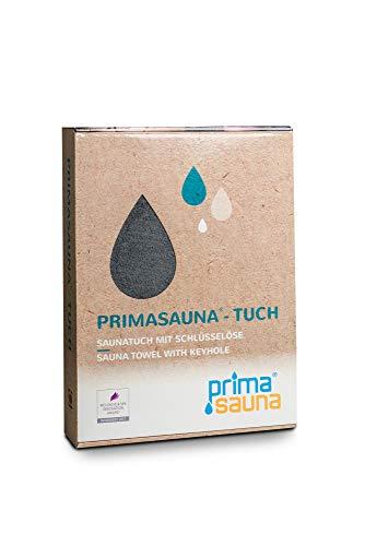 primasauna Saunatuch 210 x 80 cm für Damen und Herren mit innovativer Öse - Saunahandtuch in Geschenk Box - Großes Sauna XXL Premium Badetuch Handtücher aus Baumwolle saugstark flauschig weich - Grau