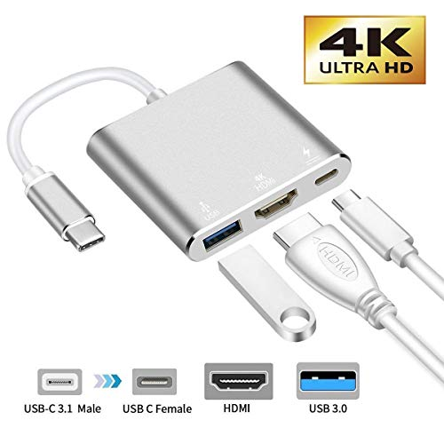 USB-C to HDMI Adapter, 321OU USB 3.1 Type C to HDMI 4K Multiport AV Converter with USB 3.0 Port and USB C Charging Port Compatible MacBook/Chromebook Pixel/Dell XPS13/Samsung s10/s9 (Silver)