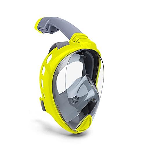 AWJ Máscara de Snorkel de Cara Completa para Adultos Respiración fácil 180 & deg;Snorkel de Seguridad antivaho y antifugas con Vista panorámica y Soporte para cámara de acción Desmontable