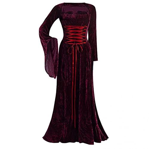 EMATOP Damen Gothic Vintage Kleid Maxi Cocktailkleid für Halloween Karnevalsparty Sexy Hexenkostüm Bodenkleid Mittelalter Kleider Satin Trompetenärmel Retro Kostüm Gewand Cosplay Kleidung