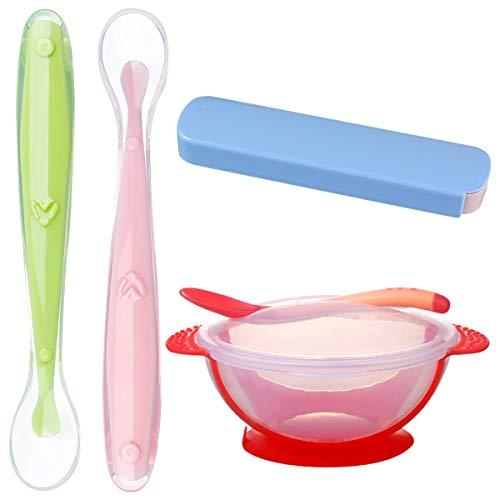 Cuchara para bebé,Saijer Cuenco Con Ventosa de Silicona Con Tapa y Cuchara Suave Con Cabezal Térmico,Apto para Comidas diarias (4 Piezas)
