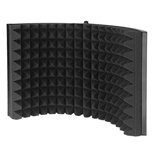 SunniMix Protector de Aislamiento de Micrófono - Negro - Placa Trasera de Metal Ventilada Plegable