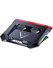 Laptop Cooling Pad RGB Notebook Cooling Pad met 2 USB-poorten Krachtige Air Flow Portable Adjustable Laptop Stand voor onderdelen en accessoires voor het kantoor aan huis computers